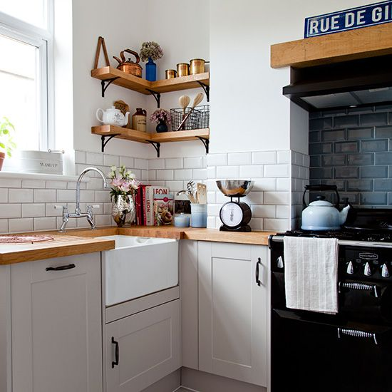 Create a loft vibe in your kitchen with white and black metro tiles