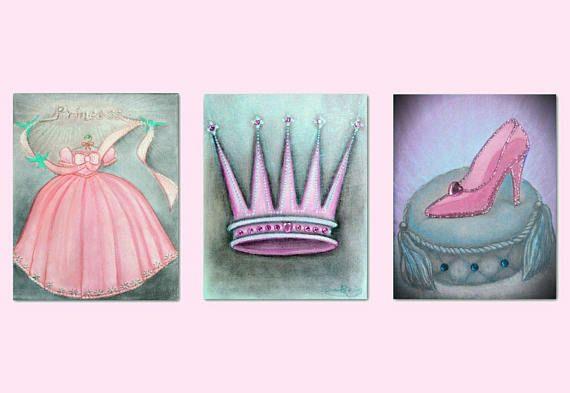 Princess Wall Art Cinderella Shoe Royal Crown Dress Baby