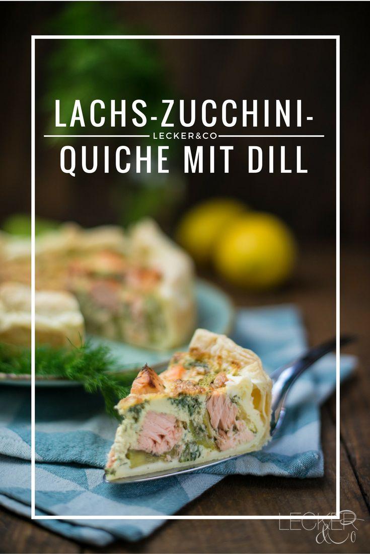 Lachs-Zucchini-Quiche mit Dill und Zitrone