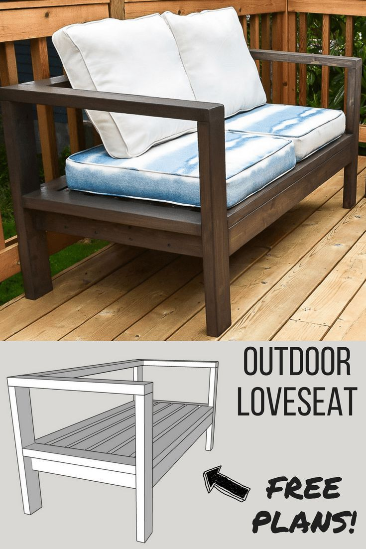 DIY Woodworking Ideas Get the free woodworking plans for this comfy DIY outdoor loveseat, and lounge o...