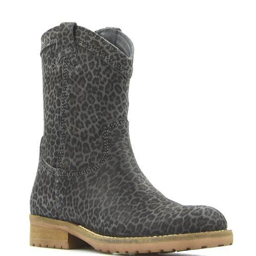 Hip grijze laarzen panterprint voor meisjes H1368