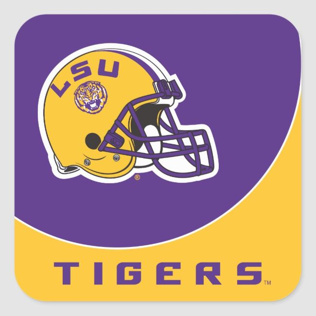 Lsu Football Helmet Square Sticker Zazzle Com Football Helmets Lsu Tigers Lsu Tigers Football