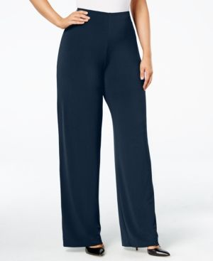 Alfani Plus Size Wide-Leg Soft Pants - Blue 0X