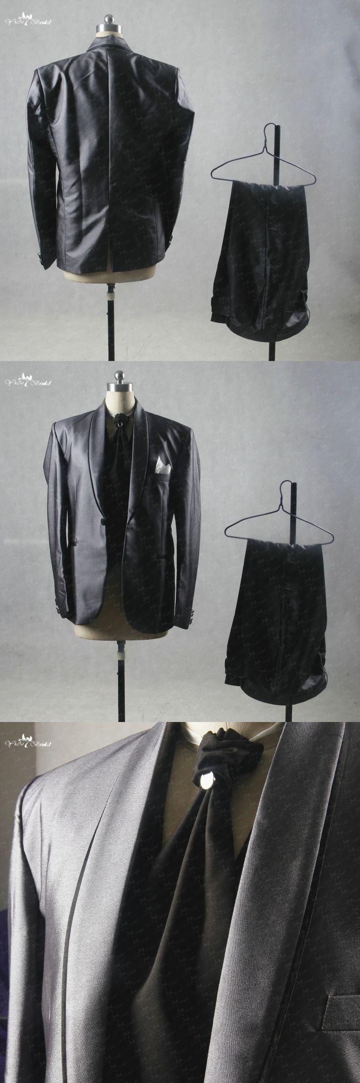 RSJ135 Italian Style Wedding Suit Men Grey Suit Black Tie