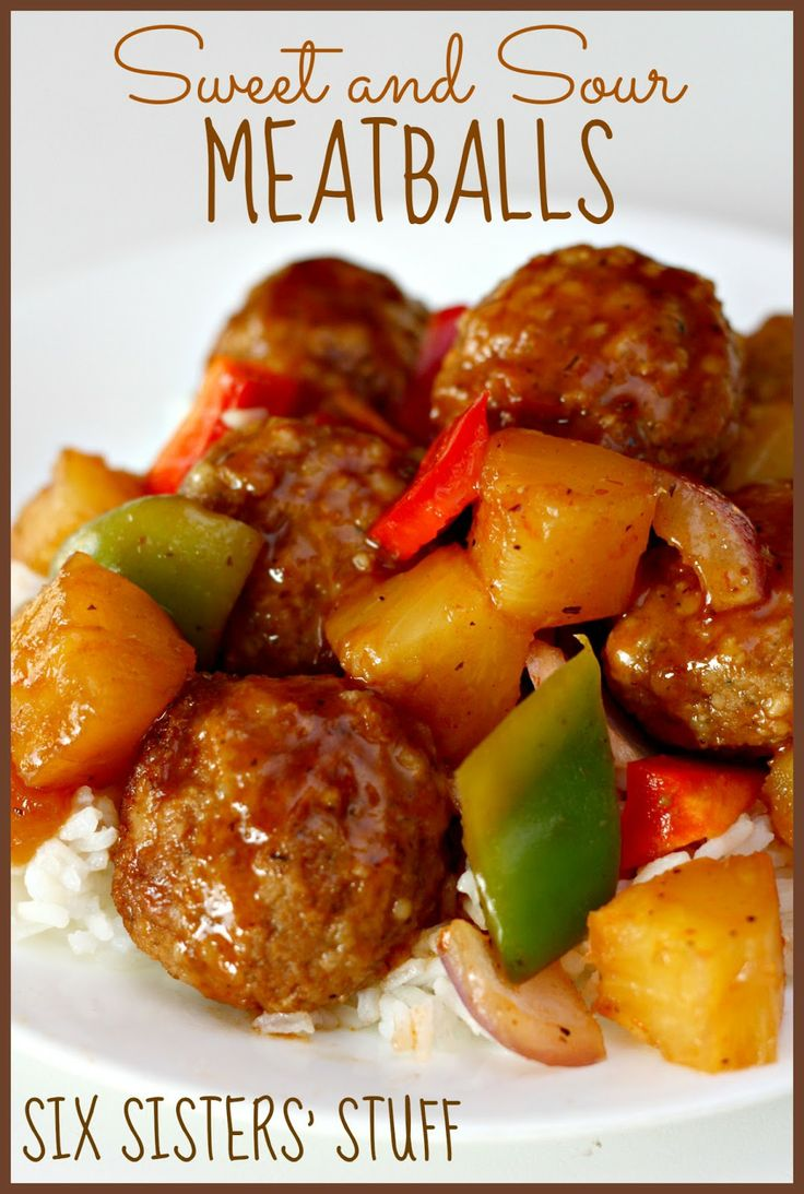 Slow Cooker Sweet and Sour Meatballs  Ingredients:  1 (10 oz) jar sweet and sour sauce  1/4 cup brown sugar  1/4 cup soy sauce  1/2 teaspoon garlic powder  2 lbs frozen meatballs  1 medium red bell pepper, cubed  1 medium green bell pepper, cubed  1 medium onion, cubed  1 (20 oz) can pineapple chunks, drained