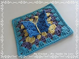 Very nice 3D butterfly on a granny square... free crochet pattern @ Ravelry