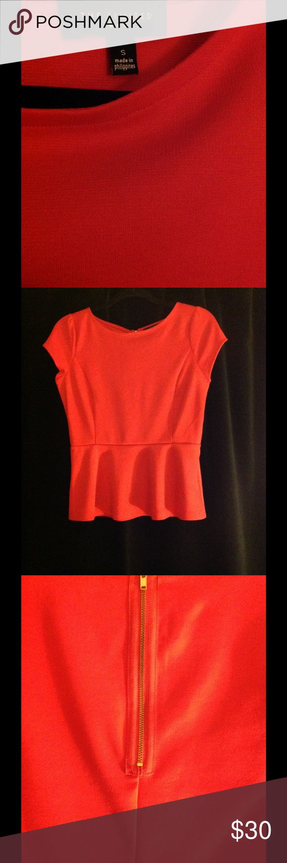 Red peplum top from The Limited Adorable red peplum top from The Limited. It's great for work or going out! Only wore once or twice so it's in new condition. The Limited Tops Blouses
