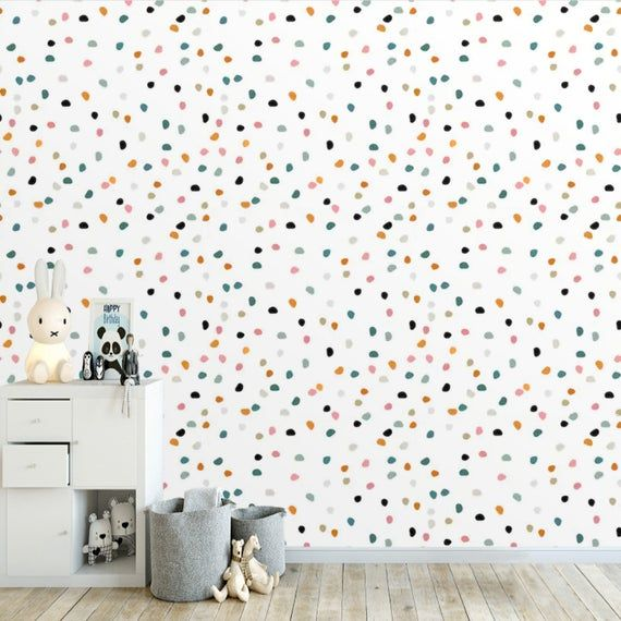 Peel And Stick Kids Neutral Wallpaper Polka Dots Removable Self Adhesive Kids Room Wallpaper Mural Custom Size Nursery Wallpaper Non Woven Kids Room Wallpaper Neutral Wallpaper Nursery Wallpaper Accent Wall