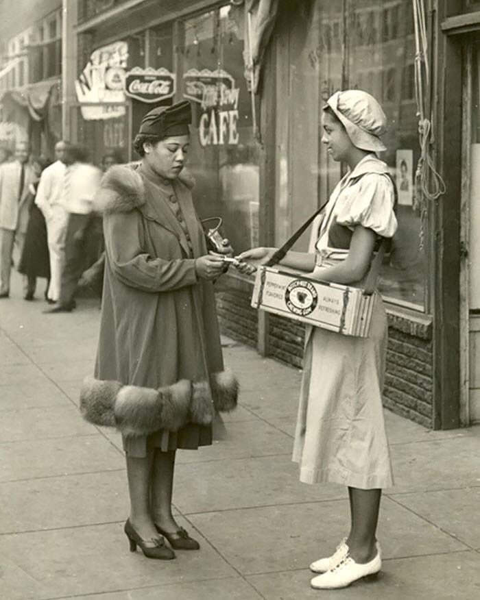 Harlem 1940's, Beechnut Chewing Gum girl making a sale