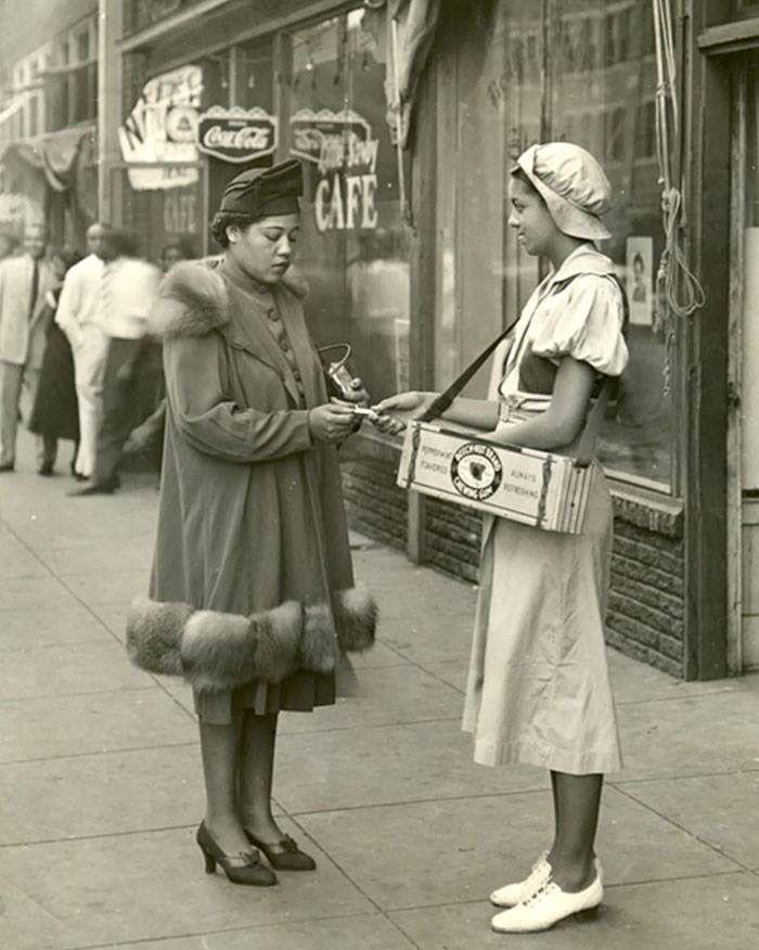 Harlem 1940's, Beechnut Chewing Gum girl making a sale