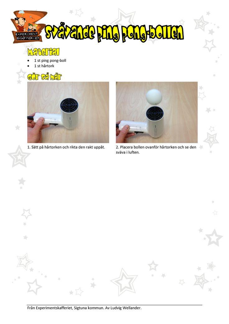Få en ping pong-boll att sväva i luftströmmen från en hårtork. Detta experiment visar hur Bernouilles princip fungerar.