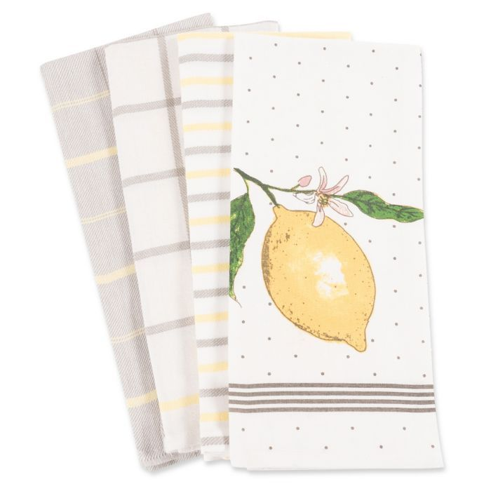 Lemon Kitchen Towels Set Of 4 Bed Bath Beyond Lemon