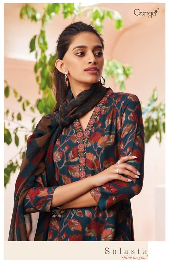 a35264e64a Ganga Solasta Shine on You Heavy Designer Printed Pashmina Winter  Collection Dress Material at Wholesale Rate