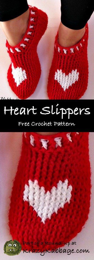 Valentine Hearts Free Crochet Patterns – Krazy Kabbage #heart #slippers #socks #footwear