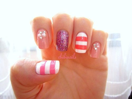 ...: Nails Art, Nails Design, Color, Manicures Nails, Pink Nails, Glitter Nails, Summer Nails, White Nails, Stripes