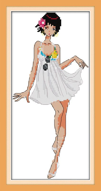 Fashion Show Girl Cartoon Needlework,DMC Cross stitch,For Embroidery kits, Printed Patterns Counted Cross-Stitching,DIY Handmade