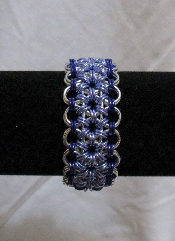 Flower Chainmaille Cuff Bracelet  Silver/Purple/Lavender