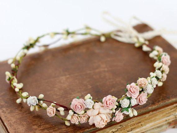 Blush Flower Crown Wedding Flower Crown Floral Crown Bridal Crown Crown Apricot Headpiece Coral Pink Flower Girl Halo Peach Bloom