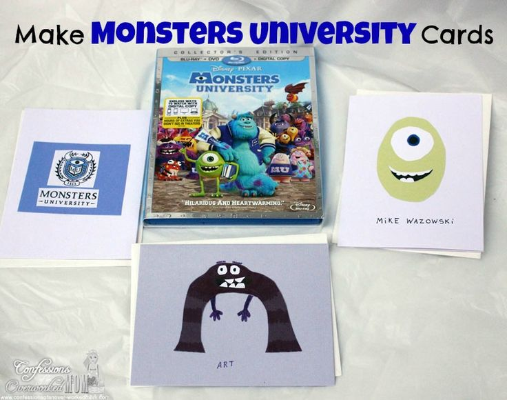 Monsters University Crafts - note cards #sponsored #crafts