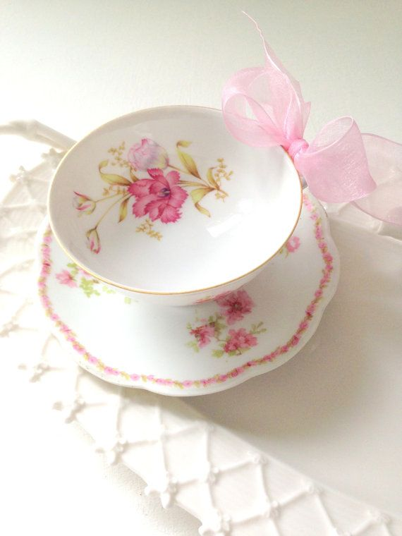 Vintage Bone China Limoges Teacup and Saucer by MariasFarmhouse