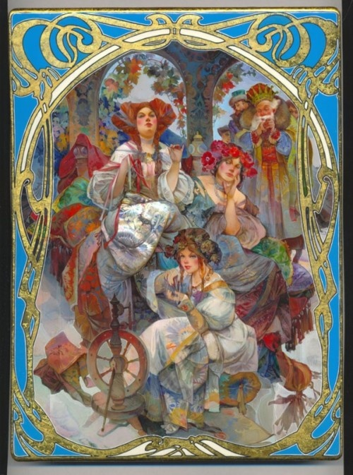 Fedoskino miniature is a traditional Russian lacquer miniature painting