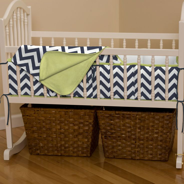 Cradle Bedding in Navy and Citron Zig Zag by Carousel Designs.