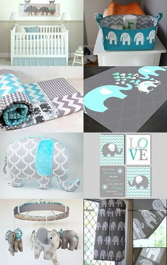 Turquoise Elephant Nursery Rooms by Authenticaa on Etsy--Pinned with http://TreasuryPin.com