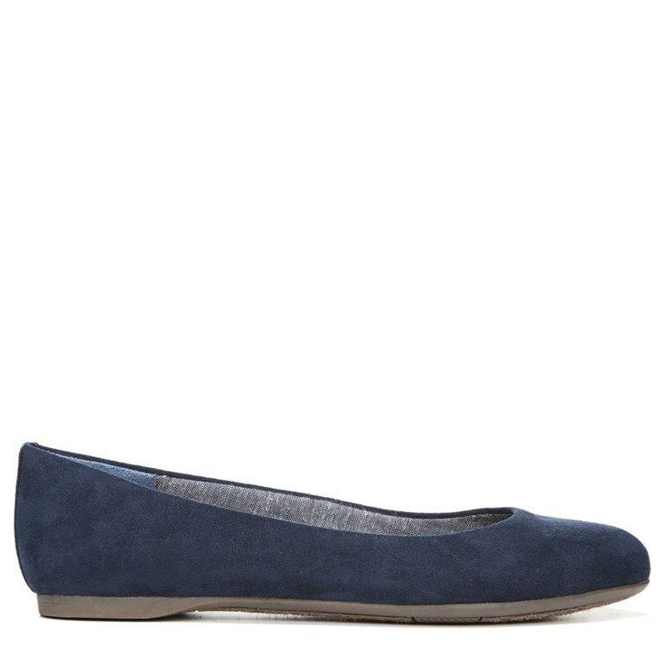 Dr. Scholl's Women's Giorgie Medium/Wide Memory Foam Flat Shoes (Navy Microsuede) - 7.0 W
