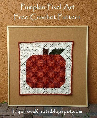 Free Crochet Pattern For The Pumpkin Pixel Art By Eyeloveknots