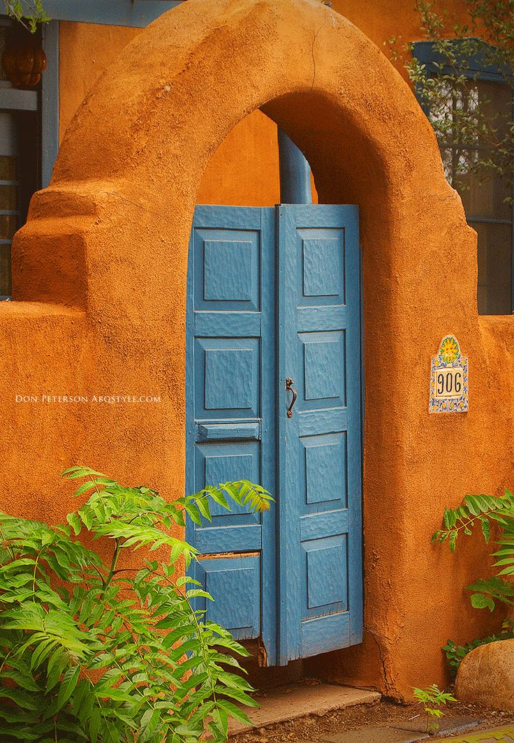 Santa Fe, New Mexico - Adobe & Turquoise Doorway