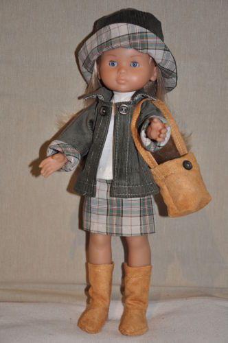 Ensemble jupe manteau bottes sac pour poupée 33 cm com...