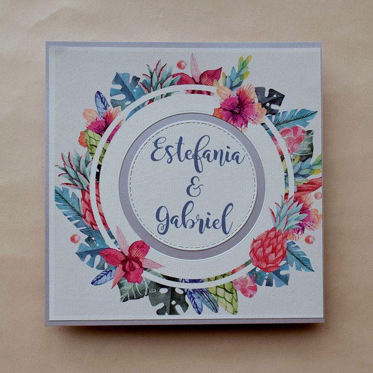 Linda invitación primaveral puede usarse para Boda o XV años, colorida y alegre, especial para bodas en jardines.