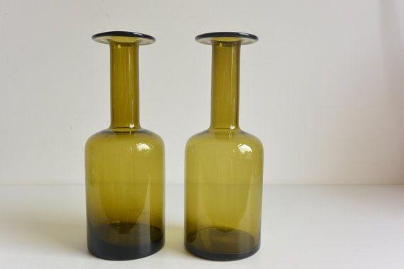 Two Smokey Green Holmegaard Gulvvases Otto Brauer Danish 60's gulvase vintage glass