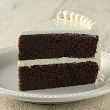 Chocolate Cake by kingarthur: Tender and moist this chocolate cake has more of a milk chocolate, rather than dark chocolate flavor, making it perfect for kids. It's simple to put together, and bakes up into a moist but easy-to-slice cake or cupckaes with a fine crumb that you can pick up with the back of your fork. #Cake #Chocolate