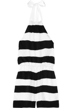 Alice   Olivia Olsen striped stretch-silk playsuit | THE OUTNET