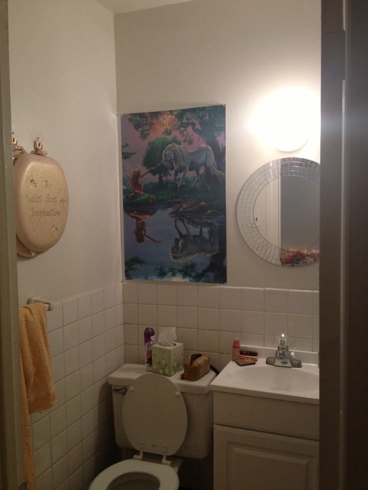 """This is my bathroom in my apartment.  The theme is """"ordinary magic."""""""