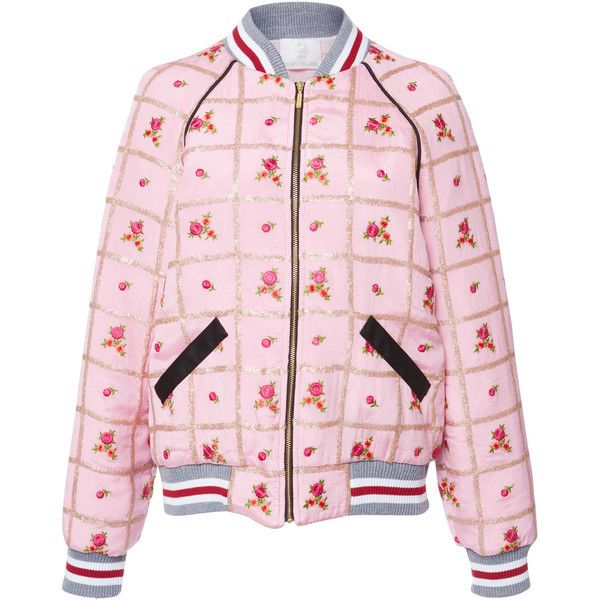 Zayan The Label Rose Bomber Jacket (690 CAD) ❤ liked on Polyvore featuring outerwear, jackets, pink, bomber style jacket, flight jacket, style bomber jacket, bomber jacket and blouson jacket