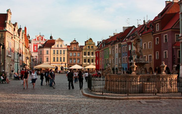 The main square in Poznan, Poland.