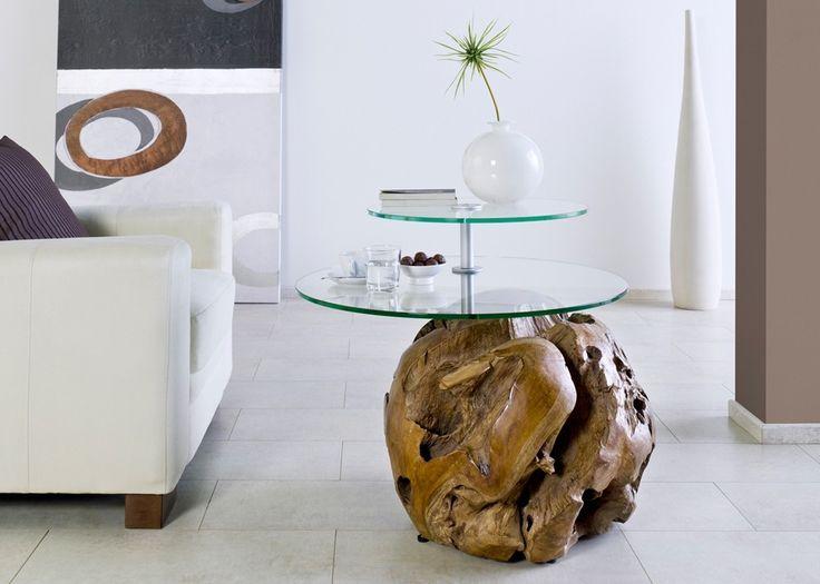 Couchtisch aus Teak Massivholz mit 2 runden Glasplatten Unikat 21231. Buy now at https://www.moebel-wohnbar.de/couchtisch-aus-teak-massivholz-mit-2-runden-glasplatten-unikat-21231