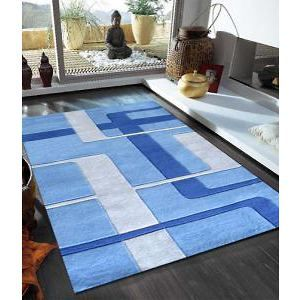 Abstract Grid Rug Blue 320x230cm