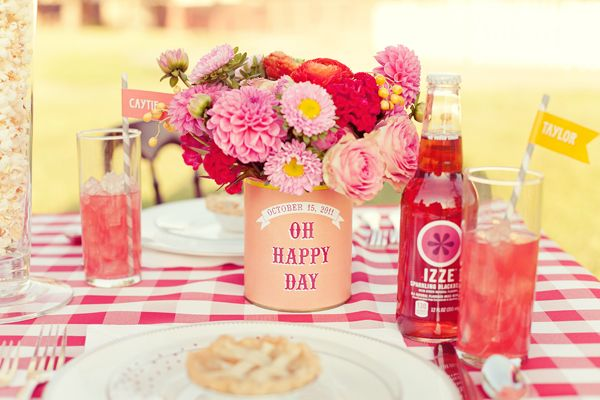 Oh Happy Day! Gingham and recycled tin cans with flowers.