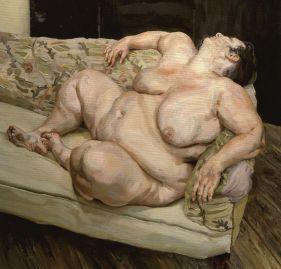 EXPRESSIONISMO ABSTRATO. Benefits Supervisor Sleeping (1994), de Lucian Freud, óleo sobre tela (1,5 m x 1,6 m)