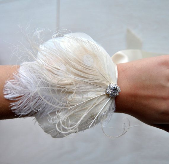 Feather Corsage Great Gatsby Wedding Wristlet Feathrs Corsage Keepsake Feacock Wrist Corsage Prom Mother Bridesmaid 1920s Corsage