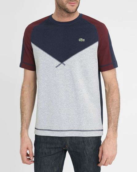 Lacoste Grey-Blue and Burgundy Round-Neck T-Shirt.  Get 40% OFF  http://tidd.ly/3d8e2c0d