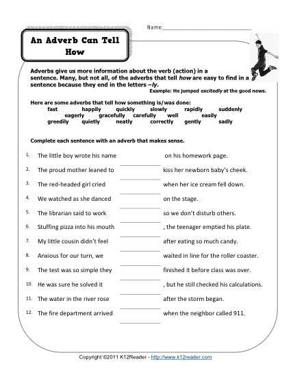 Printables Adverb Worksheets 5th Grade 1000 ideas about adverbs on pinterest grammar lessons english an adverb can tell how free printable worksheets