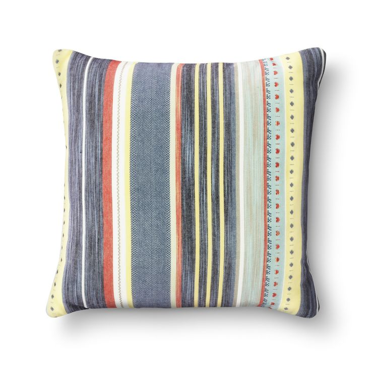 A mix of stripes and petite patterns completes the Orange Global Woven Oversized Throw Pillow from Threshold. This large striped accent pillow is a great spot to rest your head for a quick nap.