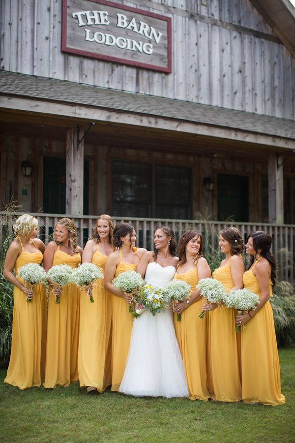 Bridesmaids in Watters Goldenrod{Yellow & Slate Blue} Rustic Nautical Summer Wedding|Photographer:  LeAnna Theresa Photography