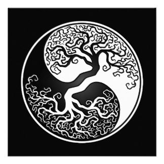 White and Black Tree of Life Yin Yang Custom Invite