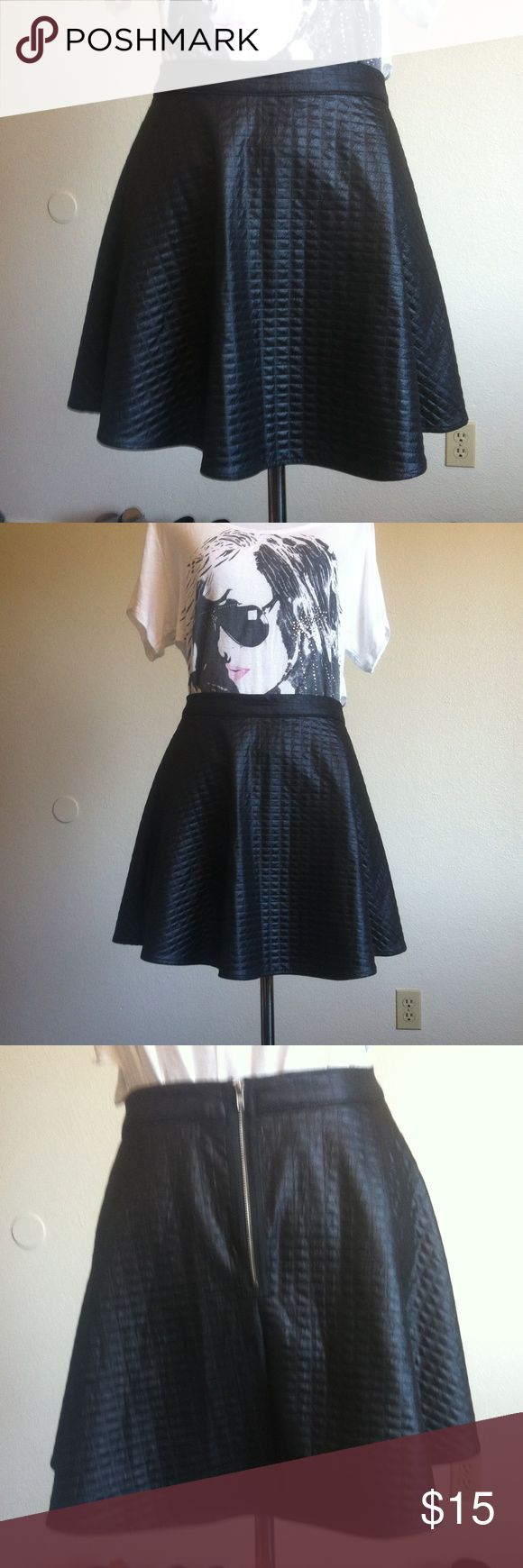 H.I.P. Faux Leather Quilted Skater Skirt Size M black quilted faux leather skater skirt with exposed back zipper by Happening In the Present. Excellent condition, no damage or staining. Happening In the Present Skirts Circle & Skater