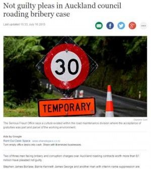 Two of three men facing bribery and corruption charges over Auckland roading contracts worth more than $1 million have pleaded not guilty.  Stephen James Borlase, Barrie Kenneth James George and another man with interim name suppression are facing the charges brought against them by the Serious Fraud Office (SFO).